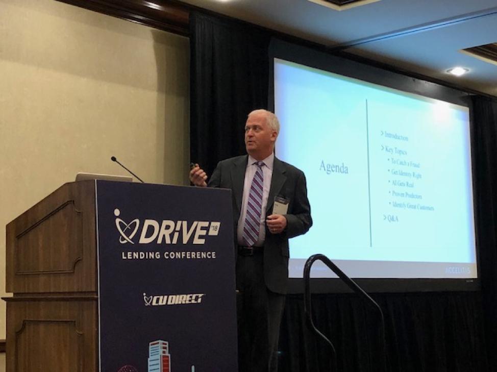 Accelitas CEO Greg Cote speaking at CU Direct DRIVE '18